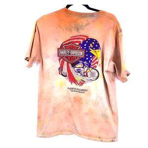 Harley Davidson Puerto Rico vintage tie dye t shir